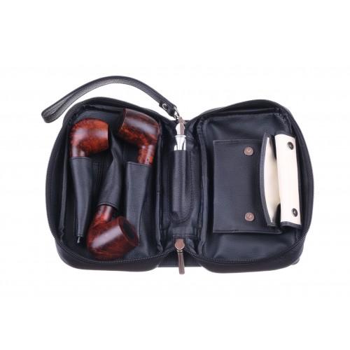 Сумка P&A для 3 трубок и табака, натуральная кожа, подарочная упаковка, черная