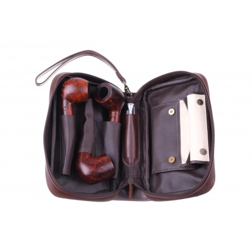 Сумка P&A для 3 трубок и табака, натуральная кожа Crazy Horse, подарочная упаковка