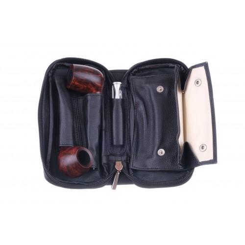 Сумка P&A для 2 трубок и табака, натуральная кожа, подарочная упаковка, черная