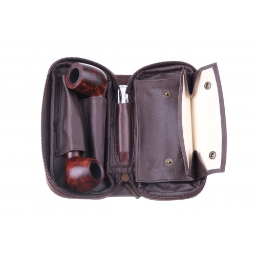 Сумка P&A для 2 трубок и табака, натуральная кожа Crazy Horse, подарочная упаковка