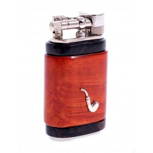 Зажигалка для трубки Mastro de Paja, серебро и бриар